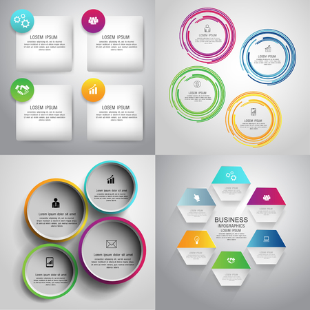 Collection of 4 design colorful infographic presentation templates. Can be used for work flow layout, diagram, number options. Vector.