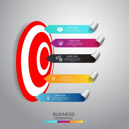 Business concept infographic template. Business step target and goal marketing. Can be used for work flow layout, diagram, number options. Vector.