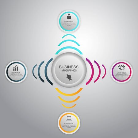 Business concept circle infographic template. Can be used for work flow layout, diagram, number options. Vector.