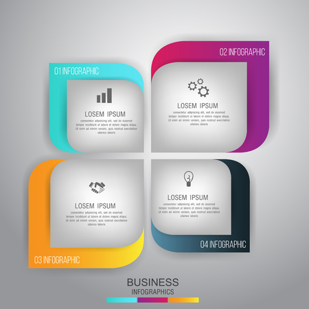 Business concept 4 steps template infographic and marketing icons vector Can be used for work flow layout, diagram, number options.