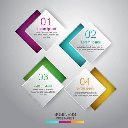 Business concept 4 steps template Çizim