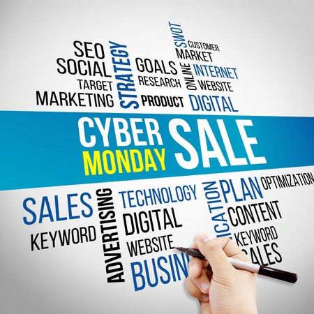 cyber monday Hand and word cloud