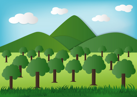 paper art green Nature, Eco green Concept. Stok Fotoğraf - 79645788