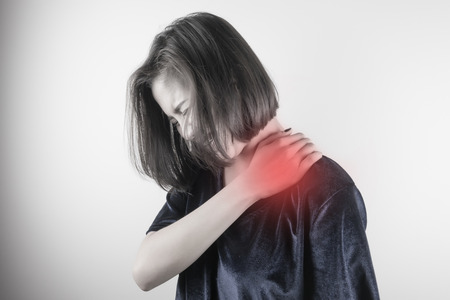 Woman with shoulder pain. Healthcare, Medical and sickness concept Stok Fotoğraf - 81918658