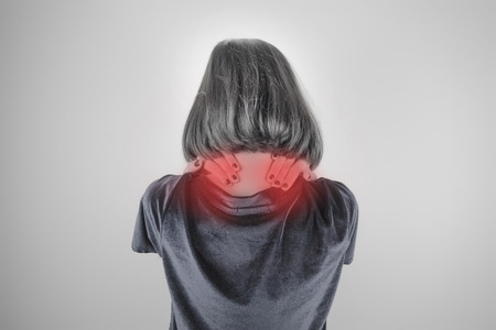 Woman has neck pain, Medical and sickness concept