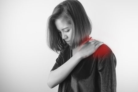 Woman with shoulder pain. Healthcare, Medical and sickness concept Stok Fotoğraf - 82341267