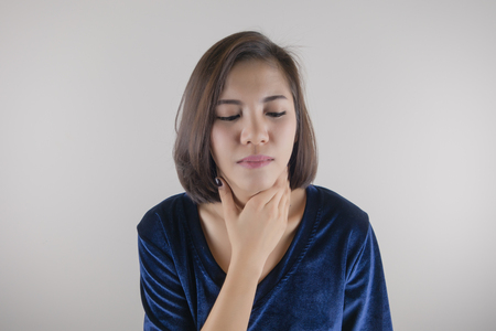 Woman has neck pain, Medical and sickness concept Stok Fotoğraf - 82341265