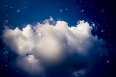 Stars night sky and clouds background illustration Stok Fotoğraf
