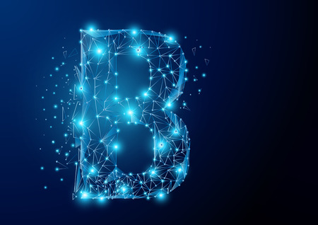 B alphabet Low poly science wireframe on dark background. Vector polygon image blue triangle glowing research future technology business form a star space, Lines, points and shapes in the future digital technology Concept. Çizim