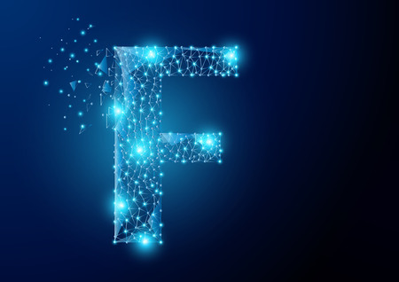 F alphabet Low poly science wireframe on dark background. Vector polygon image blue triangle glowing research future technology business form a star space, Lines, points and shapes in the future digital technology Concept. Çizim
