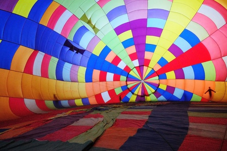 This picture is taken inside of a hot air ballon before raising into the air  photo