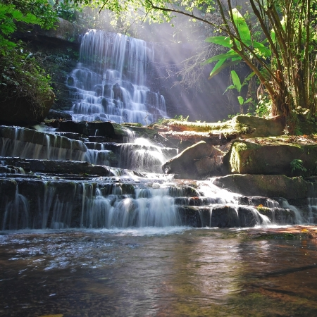 Waterfall in Thai National Park, Man Dang Waterfall, Phuhinrongkla National Park, Petchaboon Province, Thailand, in summer season