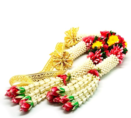 Garland flower in Thai style on a white background, used offering to buddha