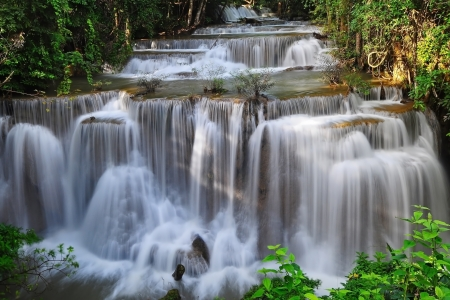 Waterfall in Thai National Park, Huay Mae Khamin Waterfall, Sai Yok National Park, Kanchanaburi, Thailand Stock Photo - 21214777