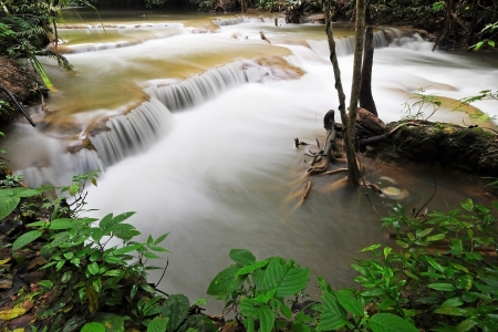 Waterfall in Thai National Park, Huay Mae Khamin Waterfall, Sai Yok National Park, Kanchanaburi, Thailand photo