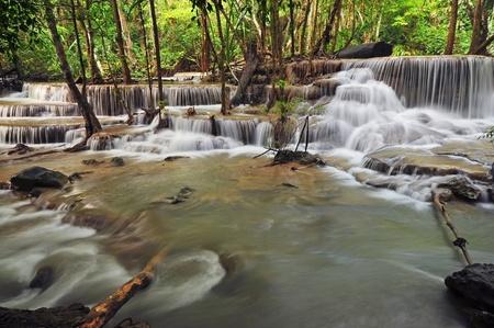 Waterfall in Thai National Park, Huay Mae Khamin Waterfall, Sai Yok National Park, Kanchanaburi, Thailand Stock Photo - 21214781