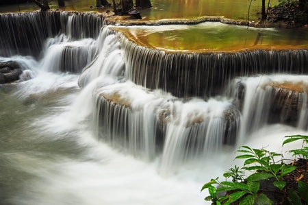 Waterfall in Thai National Park, Huay Mae Khamin Waterfall, Sai Yok National Park, Kanchanaburi, Thailand Stock Photo - 21214782