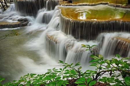 Waterfall in Thai National Park, Huay Mae Khamin Waterfall, Sai Yok National Park, Kanchanaburi, Thailand Stock Photo - 21214783