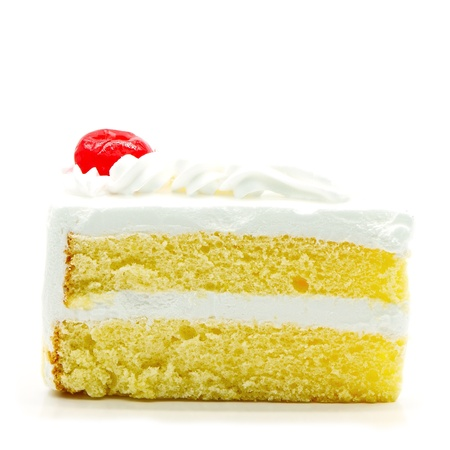 Slice of delicious cake isolated on white  Stock Photo