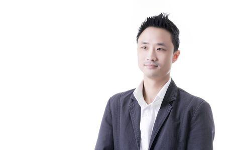 ビジネス オフィス コンセプト、白い背景の上の肖像画プロファイルのアジア人男性