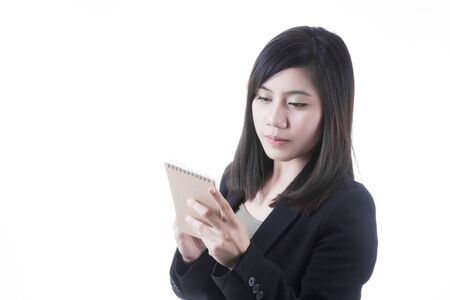 note paper: Asian woman in business office concept with note paper in her hand on white background