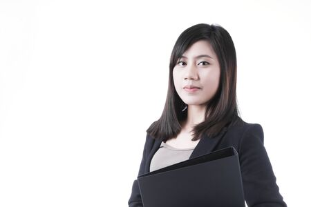 document file: Asian woman in business office concept with document file on white background