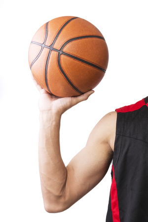 Asian body man with basketball on white background