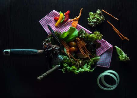 Clean food salad on black background