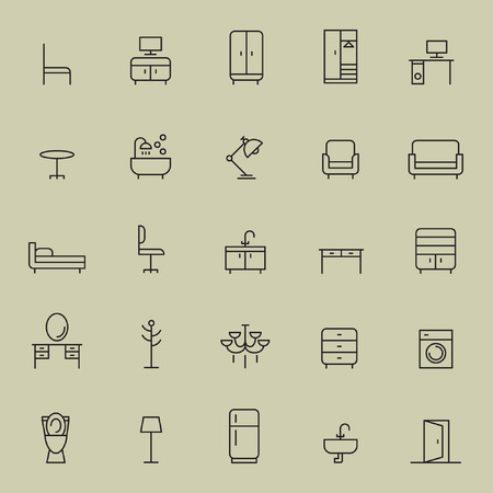 Set of  thin linear minimal furniture icon. Vectores