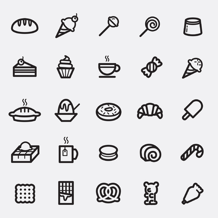 Set of Dessert and Sweets icon. Çizim