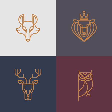 Linear hipster vector icon element - deer, owl, wolf, lion