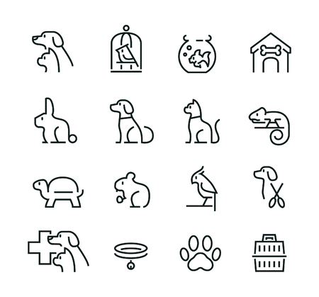 Minimal thin line pet icon set