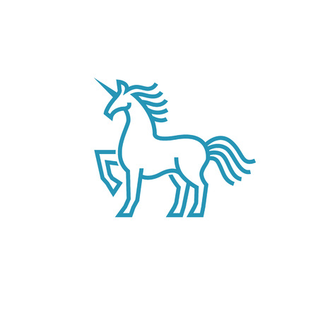 Unicorn icon in simple line style  イラスト・ベクター素材