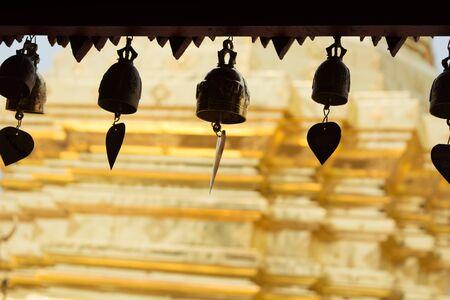 pavillion: Bells at roof of pavillion around golden pagoda in Wat Phra That Doi Suthep in Chiangmai, Thailand.