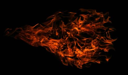 arsonist: Fire isolated on black background. Stock Photo