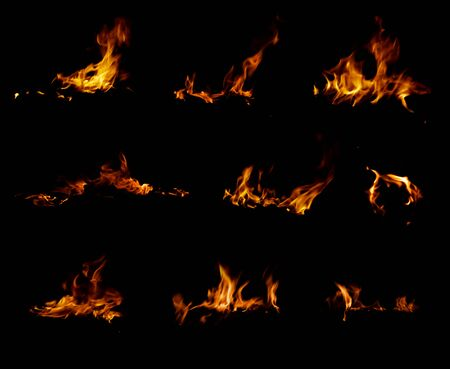 flametongue: fire collection isolated on black background Stock Photo