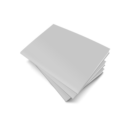 magazine stack: Stack of blank magazines template. on white background with soft shadows. Ready for your design.