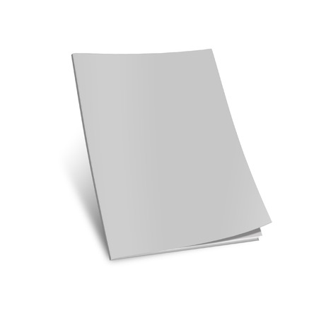 Blank magazine template on white background with soft shadows.