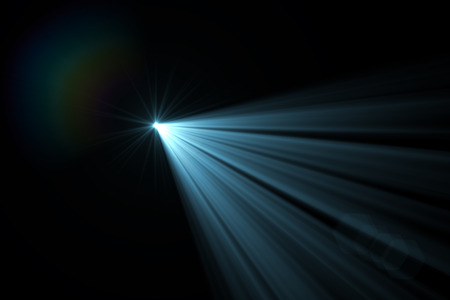 sun burst: digital lens flare in black bacground horizontal frame Stock Photo
