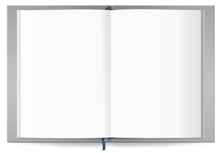 learning computer: Open book with blank pages, isolated on a white background.