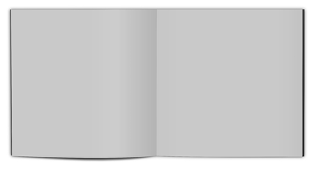 Open magazine double-page spread with blank pages.