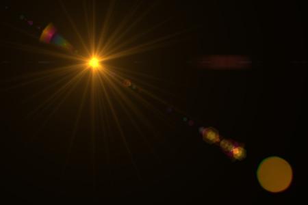 digitale lens flare op zwarte achtergrond horizontale frame warm