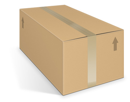 stockpiling: Closed cardboard box taped up and isolated on a white background. Stock Photo