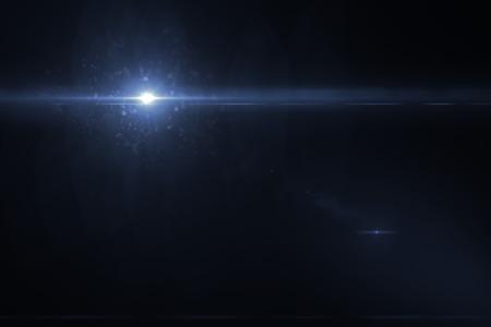 light ray: digital lens flare in black bacground horizontal frame Stock Photo