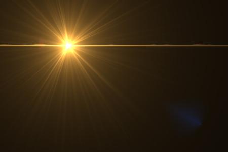 digitale lens flare in zwarte achtergrond horizontale frame warm Stockfoto