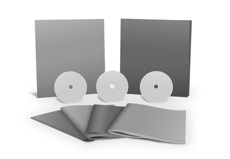stationery set: Stationery set blank 3D objects template isolated on white.