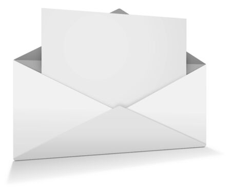 open envelope: White open envelope with paper