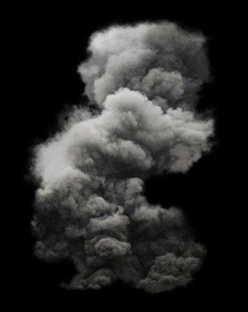black smoke: White smoke isolated on black background
