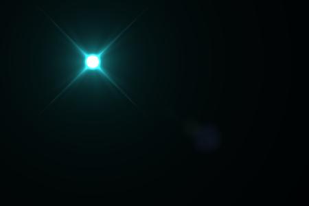 black star: digital lens flare in black bacground horizontal frame Stock Photo