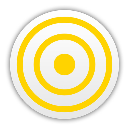 Yellow darts target aim on white background